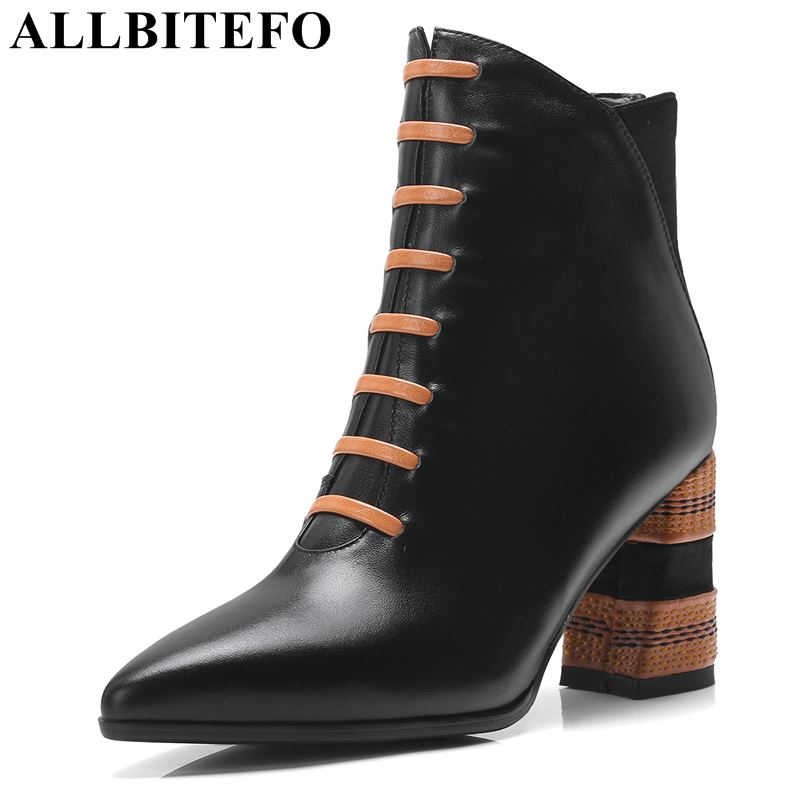 allbitefo brand genuine leather super high heel ankle women boots fashion sexy ladies girls martin boots motocycle boots shoes ALLBITEFO brand genuine leather pointed toe high heel shoes women boots fashion girls ankle boots Spring Autumn motocycle boots