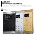 AIEK M3 1.0 inch Quad Band Ultra Thin Pocket Card Phone Bluetooth 3.0 FM Audio Player Low Radiation Mini Student Mobile Phone