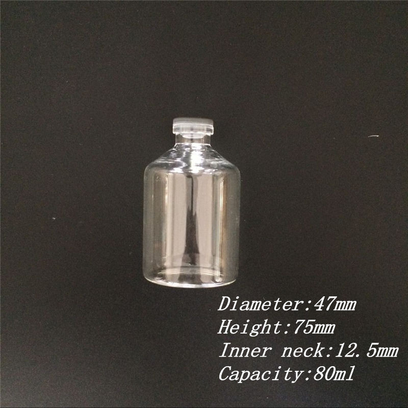80ml Leakproof Glass Bottles with Rubber Cap Eco-Friendly Jars Vials Silicone Bottles55
