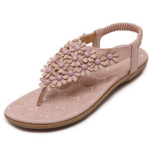 2018 verano Zapatos Mujer Flor Sandalias cómodas talón plano verano Mujer  Bohemia sandalias flip flops alta 7cde30502215