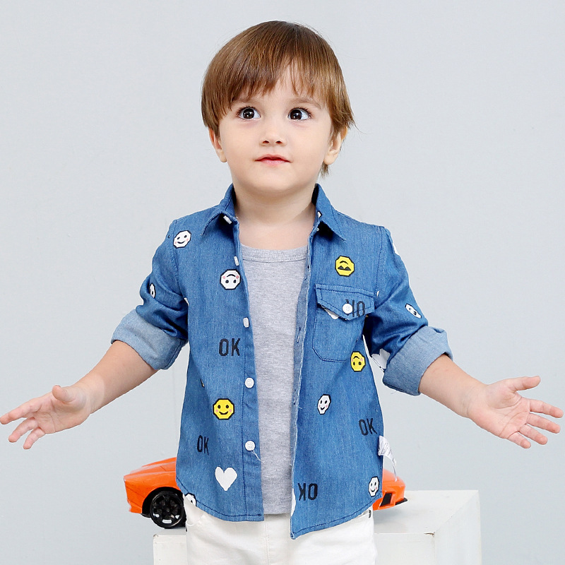 Boy Denim Shirt Autumn Baby Cowboy Blouse For Girls Long Sleeves Children Boys Floral Shirts Winter Print Kid Clothing for Shirt цена