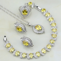 925 Sterling Silver Jewelry Yellow Cubic Zirconia White CZ Bridal Jewelry Sets For Women Earring Pendant