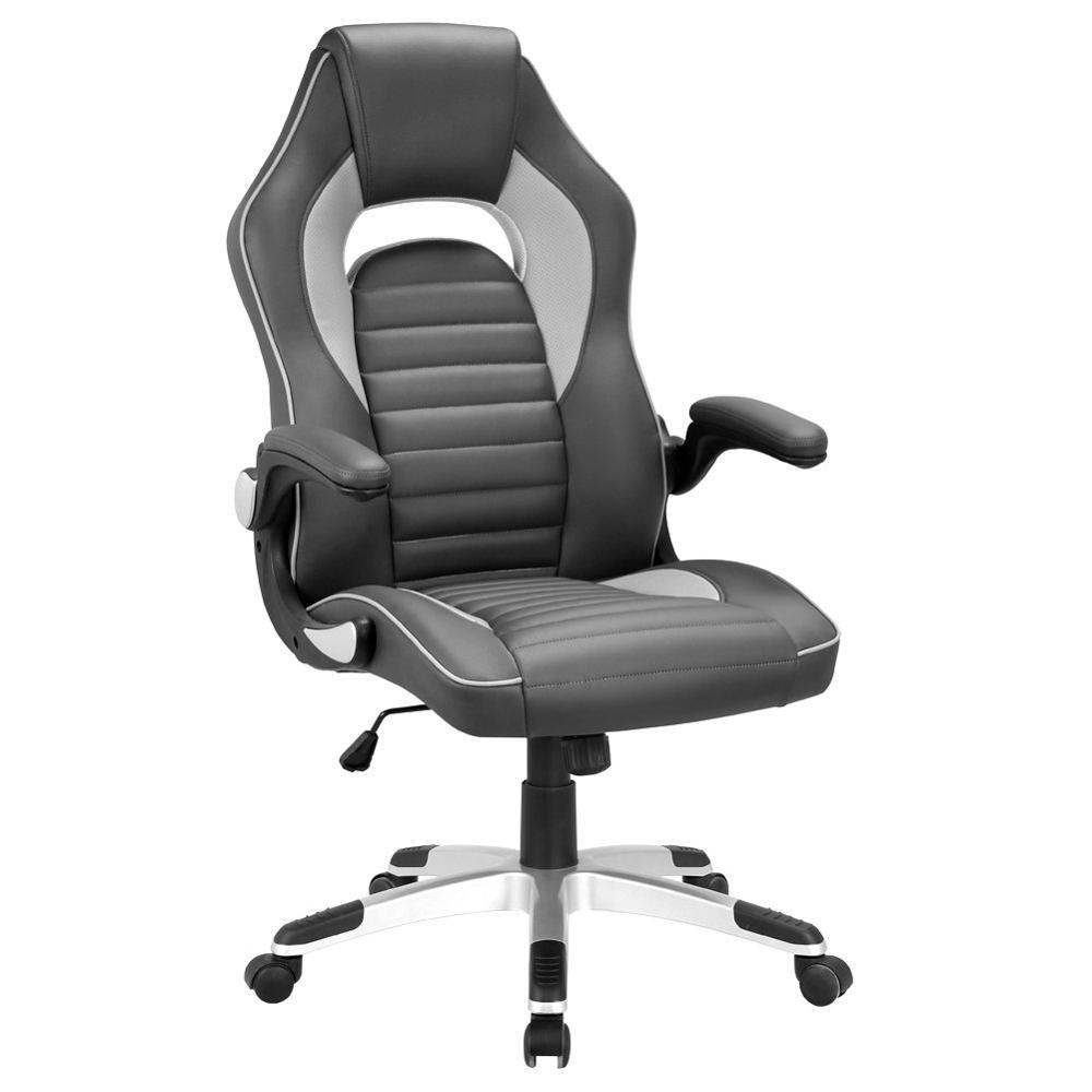 Leather Gaming Chair Pu Executive Chair With Foldable Arms High Back Swivel Computer Reclining Chair