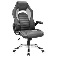 Leather Gaming Chair Pu Executive chair with Foldable Arms High Back Swivel Computer Reclining Chair giantex ergonomic pu leather mid back swivel gaming chair modern executive computer desk task office chair hw51446