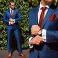 2017 New Arrival Azul Ajuste de Casamento dos homens Ternos Do Noivo Smoking Padrinhos de casamento Terno Formal Jacket + Pants