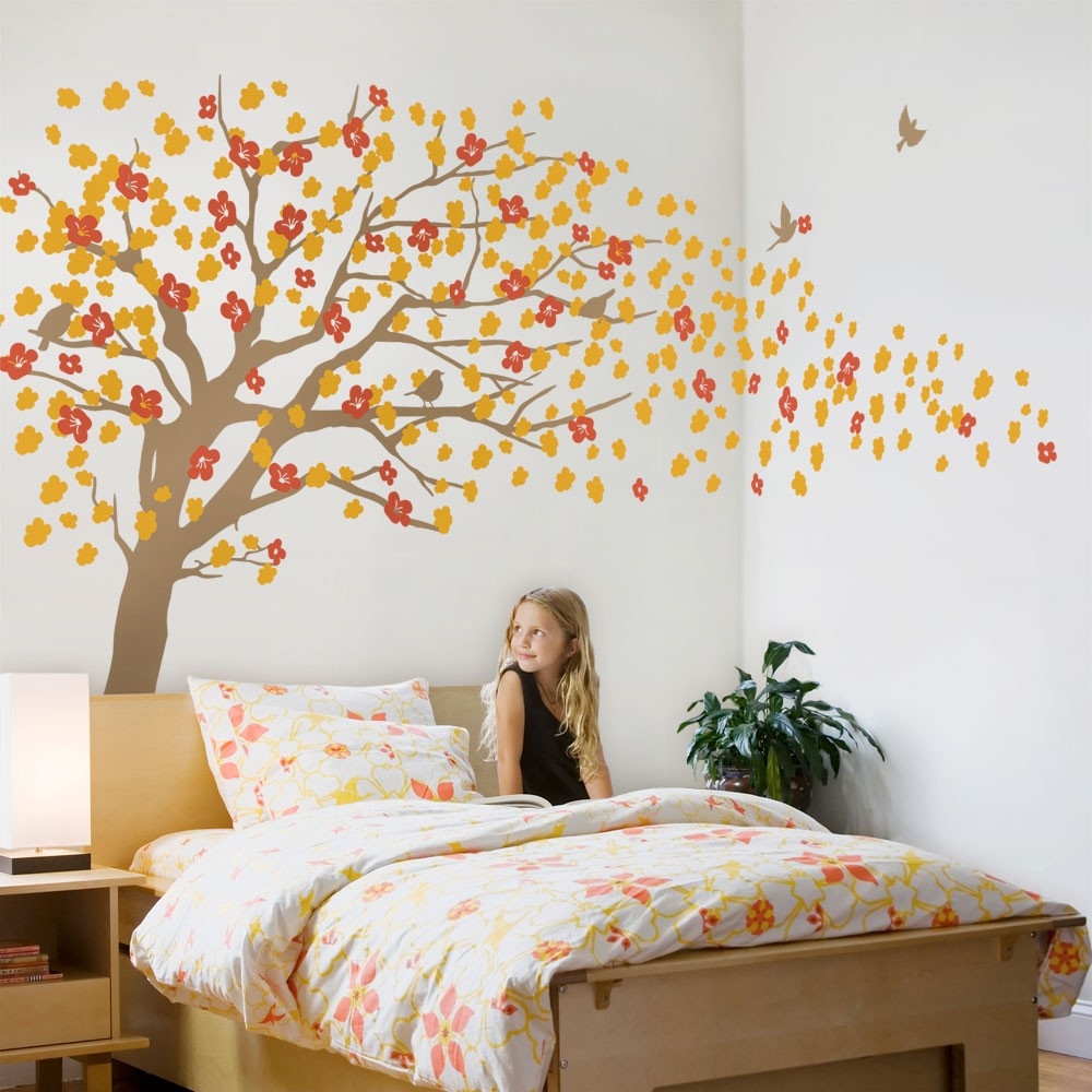Large Tree With Flowers Wall Stickers Decor Living Room Kids Bedroom Wall  Decals High Quality DIY Self Adhesive Mural A396C