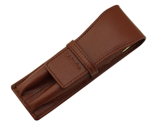 Leather Pencil Case Fountain Pen Bag for 2 Pens Genuine High Quality Coffee Pen Holder / Pouch