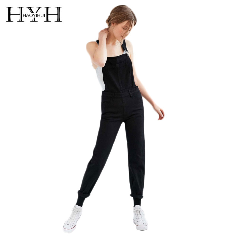 HYH HAOYIHUI Black Boyish Zipper Side Pockets Overall Women Jumpsuits Rompers Cargo Suspender Pants Fashion Streetwear