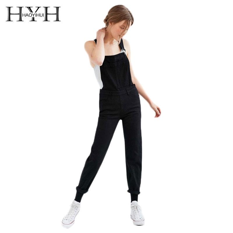 HYH HAOYIHUI Black Boyish Zipper Side Pockets Overall Women Jumpsuits Rompers Cargo Suspender Pants Fashion Streetwear