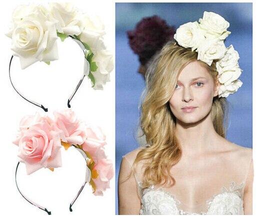 ᐊhandmade Fabric Rose Headband Festival Garland Hairbands Wedding