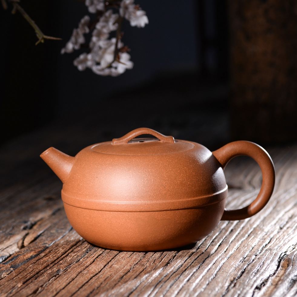 260ml Yixing original ore Zisha teapot genuine master all handmade down slope mud line round purple clay tea kettle tea gift