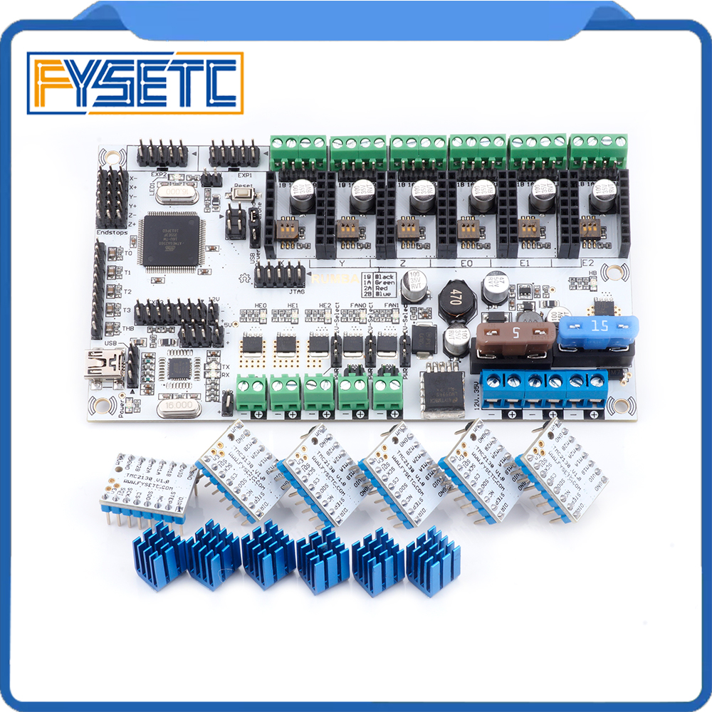 Rumba Plus 3D Printer Start Kits Mother Board Rumba +Board With 6pcs TMC2130 V1.0 Stepper Driver 6pcs Heatsink For 3d Printer rumba plus 3d printer start kits mother board upgrade rumba control board with 6pcs drv8825 stepper driver suitable mks tft