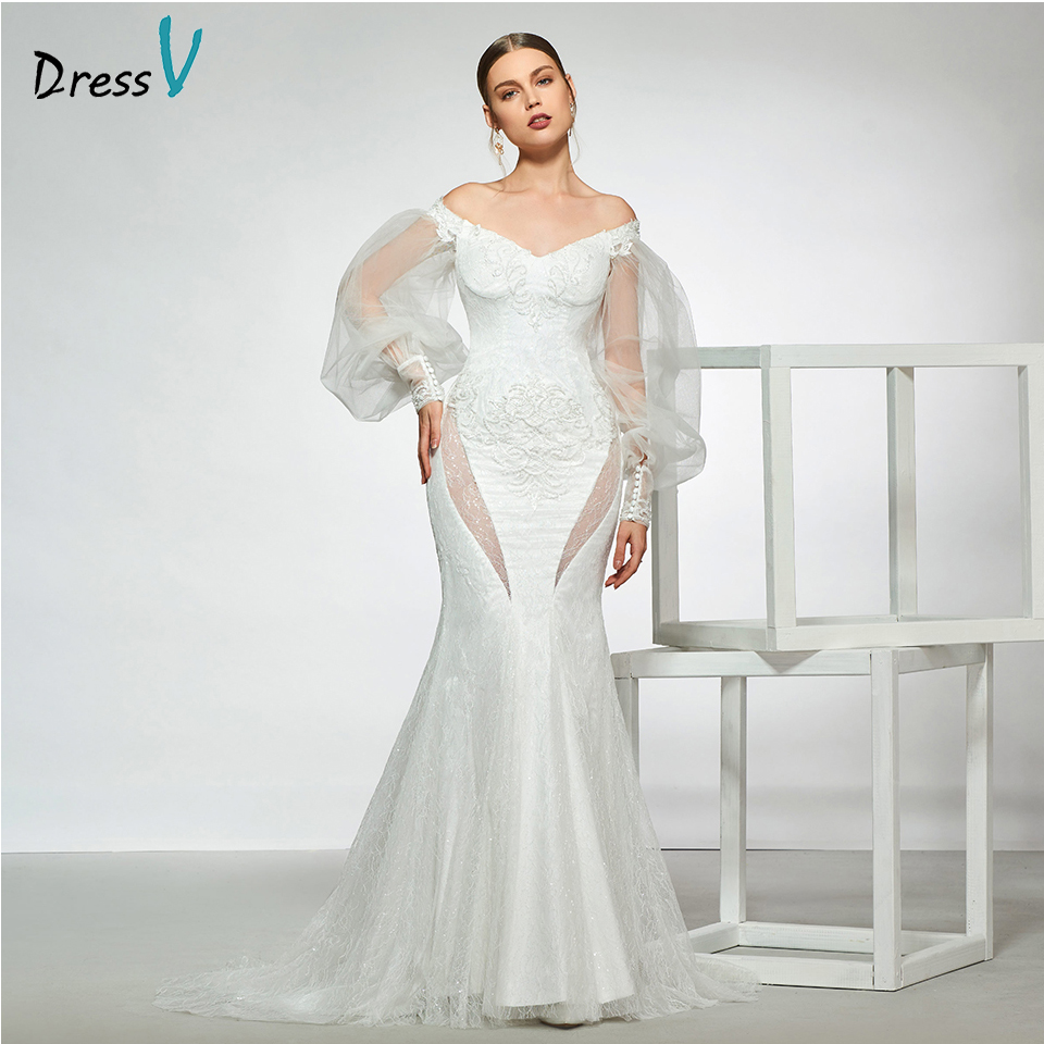 Dressv elegant sample off the shoulder button wedding dress long sleeves lace floor length simple bridal gowns wedding dress