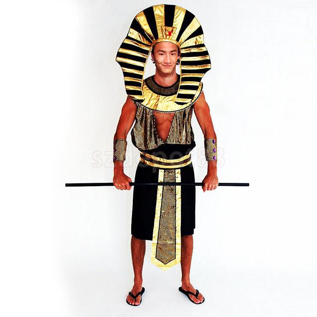 Men Ancient Egyptian King Tut Pharaoh Costume Cosplay Halloween