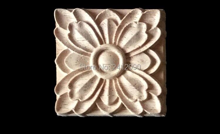Pcs legno naturale intagliare applique per mobili cabinet