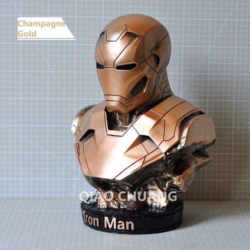 Statue Avengers Iron Man Bust 1:2 MK46 Half-Length Photo Or Portrait Imitation Metal Resin Action Figure Collectible Model Toy kratos statue the son of zeus 1 1 life size bust god of war half length photo or portrait resin collectible model toy boxed
