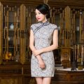 Elegant Chinese Women's Linen Cotton Cheongsam Hot Sale Traditional Style Mini Qipao Dress Vestido Size S M L XL XXL C27524