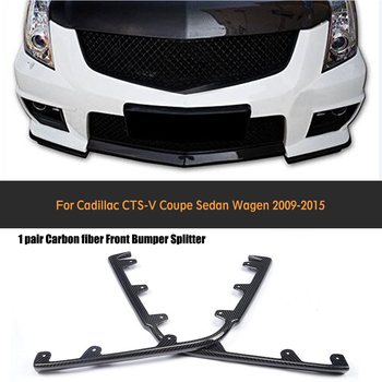 Carbon Fiber Front Center Lip Side Splitters Spoiler Flaps Chin Bumper Protector For Cadillac CTS V 2009 - 2015 Non Vsport image