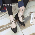PHYANIC 2017 Spring New Women Lace Up Pumps Pointed toe Shoes Slip on Shoes Med Heels Pump Cross-tied Dress Shoes With Beads