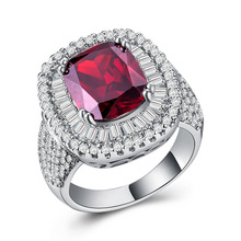 Diamond rings ruby ring Crystal opal Cubic zirconia ring Gift for woman retro lady red zircon ring silver plated brand B1140 chic faux ruby zircon alloy ring for women
