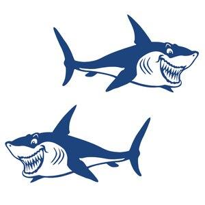 Image 3 - 1 Pair Cute & Funny Shark Decals Vinyl Shark Emblem Badge Sticker For Automobiles Motorcycle Boat Canoe Computer Etc Waterproof
