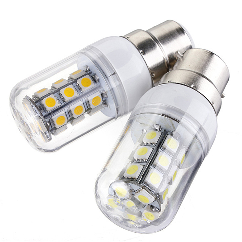 3W LED Light Bulb B22 SMD5050 27LEDs Energy Saving Corn Light Spotlight Bulb Lamp For Home Lighting Pure/Warm White 12V