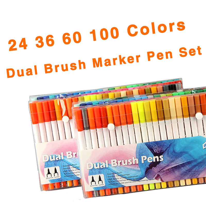 24 36 60 100 Colors Double Head 0.4MM Fine Marker Brush Pen Water Based Ink Sketch Markers Set For Drawing Manga Art Supplies w110145 soft head fine water mark pen 48 60 color beginners painting professional equipment advanced ink student art suit