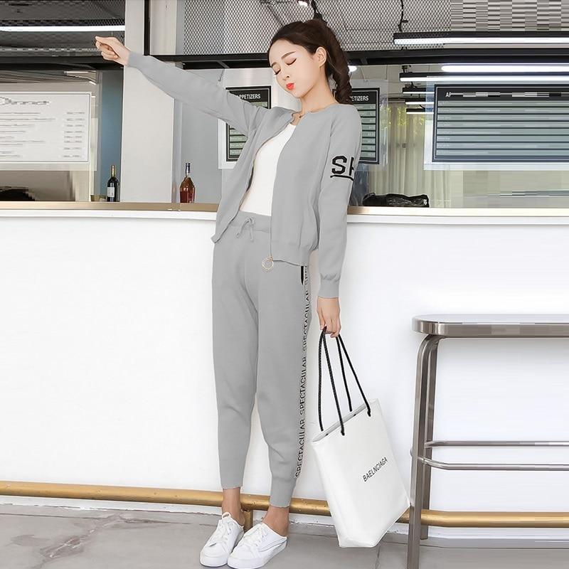 Knitted Tracksuit Women Pant Suits Sets 2018 New Fashion Elegant Casual 2 Piece Set Women Letter Sweater Pencil pants 5