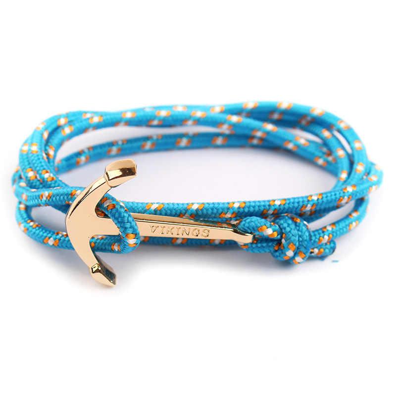 Vintage Charm Armbanden & Bangles Handgemaakte Touw Bangle Zilveren Anker Armband Vikings Armband Voor Mannen Vrouwen