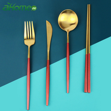 Solid Metal Tableware Set 304 Stainless steel Cutlery Chopsticks Fork Spoon Knife Kits Western Foods Dinnerware 4 pics