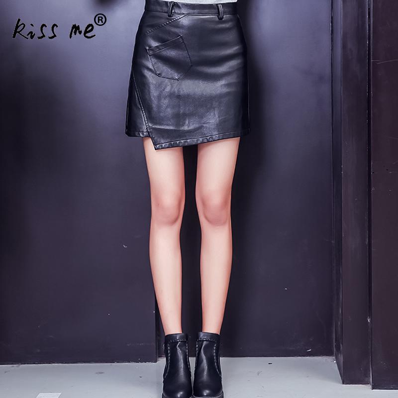 Однотонные черные из искусственной кожи мини-юбка Высокая Талия Асимметричный модные женские туфли Костюмы демисезонные пикантные юбка Об...