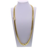 Link Chain Necklace Hip Hop Mens Curb Cuban Chain Golden Filled Necklaces Jewelry Daily life 61cm 71cm long necklace for hiphop
