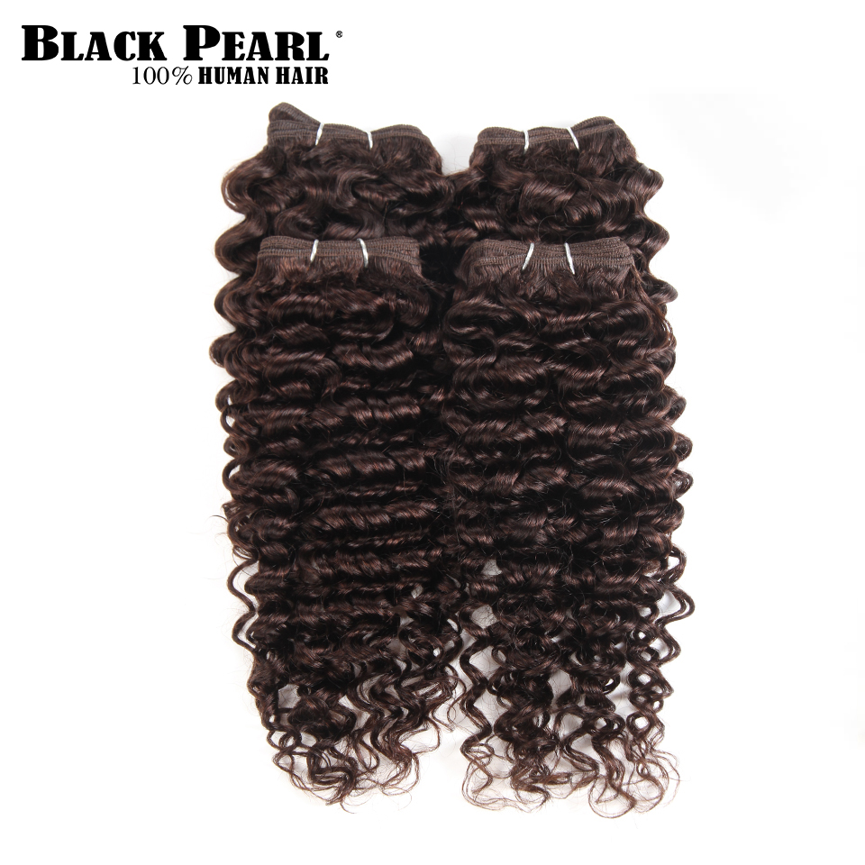 Black Pearl Pre-Colored curly weave Human Hair 4 Bundles One Pack 190 Gram Brazilian Hair Color 2# Non-Remy Hair