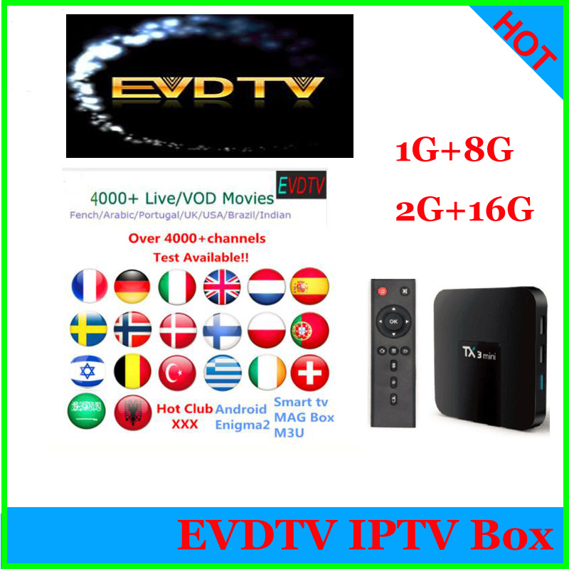 tx3 x96 h96 mini Android 7 1 TV Box EVDTV Subscription Arabic French IPTV Box 1G