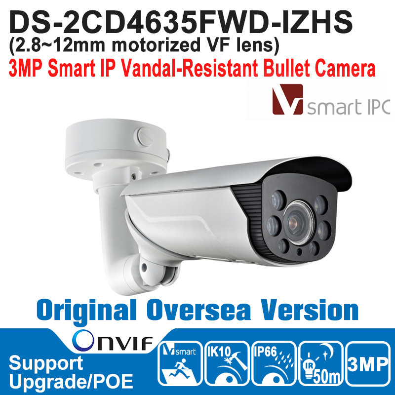 HIK IP Camera 3MP POE Outdoor NEW DS-2CD4635FWD-IZHS 3MP Smart IPC Bullet Camera IP66 H.264+/H.264/ MJPEG IK10 ONVIF hik hot ds 2cd6362f iv hik ip camera 6mp poe indoor 6mp network fisheye camera h 264 h 264 mjpeg support microsd sdhc
