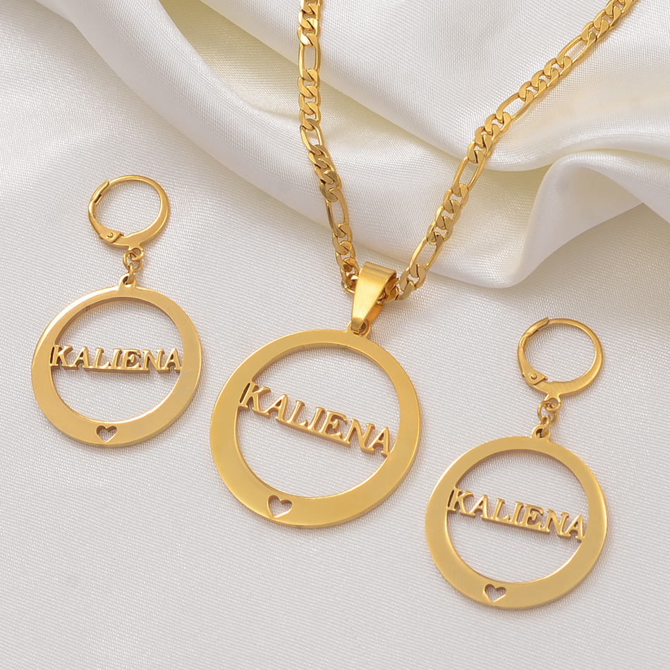 Anniyo Can 39 t Customize Name KWAJALEIN Pendant Chain amp Earrings Jewelry set Trendy Gold Color Jewellery for Women Gifts 037821 in Jewelry Sets from Jewelry amp Accessories