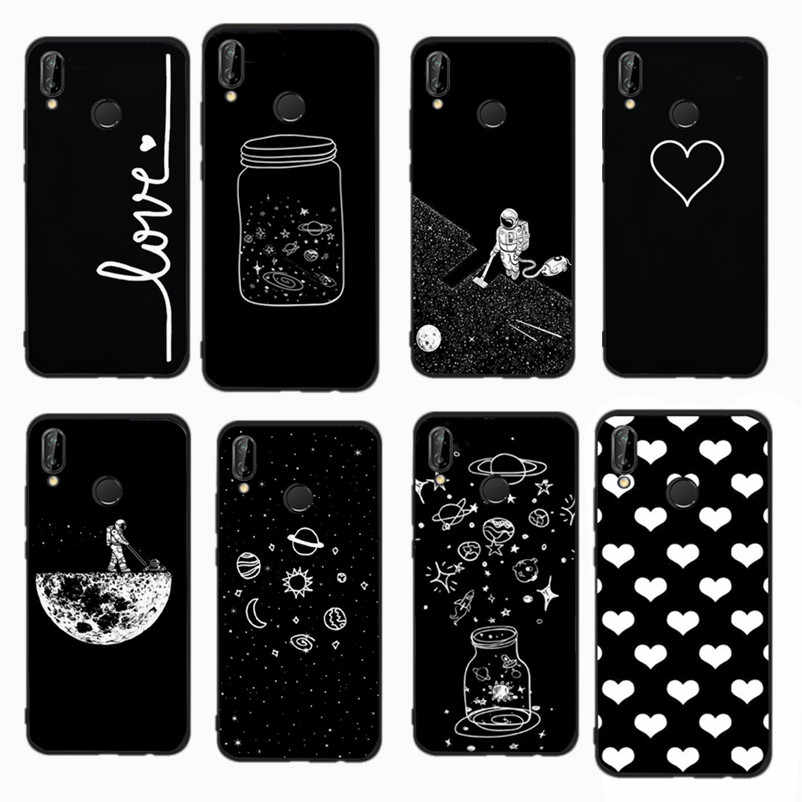 Space Man Cat Love Heart Pattern Cover For Huawei P10 P20 Lite P9 Lite 2017 P9 Lite Mimi P Smart Black White Soft phone Cases