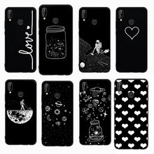 Space Man Cat Love Heart Pattern Cover For Huawei P10 P20 Lite P9 Lite 2017 P9 Lite Mimi P Smart Black White Soft phone Cases(China)