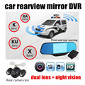 New 5 inch car camera rearview mirror auto DVR dual lens dash cam recorder video registrator camcorder HD high quality