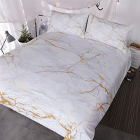 BlessLiving Gold and White Marble Bedding Set 3 Piece Nature Inspired Abstract Toned Home Textiles Old Fashion Rock Duvet Cover