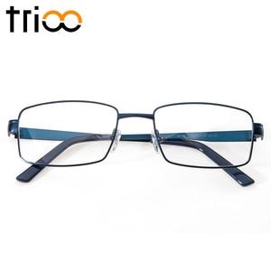 Image 5 - TRIOO Metal Blue Reading Prescription Mens Glasses Graduate Computer Myopia Degree Eye Glasses Square Astigmatism Spectacles