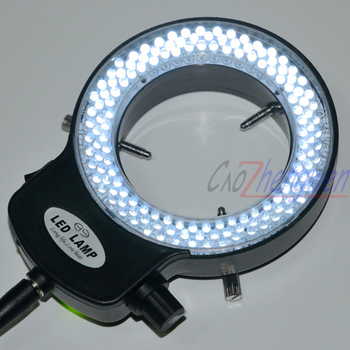 FYSCOPE מתכוונן 144 LED טבעת מנורת הפנס תעשיית סטריאו מיקרוסקופ עם 110 v-240 v AC כוח זכוכית מגדלת מתאם