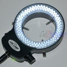 FYSCOPE מתכוונן 144 LED טבעת מנורת הפנס תעשיית סטריאו מיקרוסקופ עם 110V 240V AC כוח זכוכית מגדלת מתאם