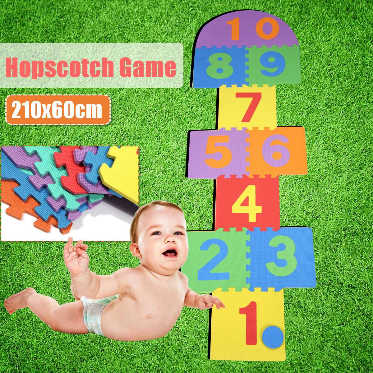 Indoor Outdoor Garden Family Hopscotch Game EVA  Baby And Children Play Floor Mat Environme Numbers Foam Mat Pad Floor For Baby