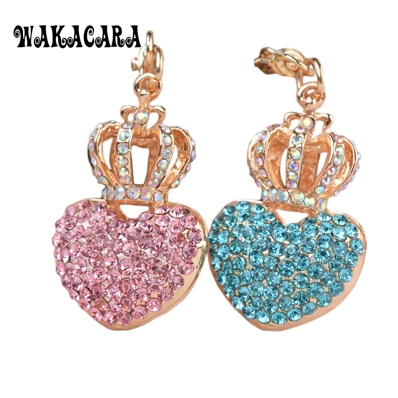 Fashion Heart Shape Crystal Bag Charm For Women Pink Rhinestone Key Ring Gold Plating Crown Keychain