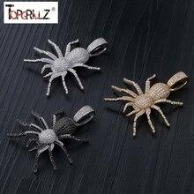Collier avec pendentif araignée glacé pour hommes, Micro pavé, Hip Hop, couleur or argent, chaîne à breloques à paillettes, bijoux