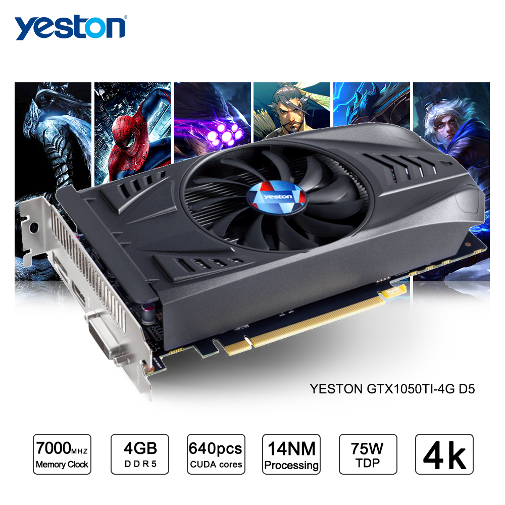 Yeston GeForce GTX 1050Ti GPU 4GB GDDR5 128 Bit Gaming Desktop Computer PC Video Graphics Cards