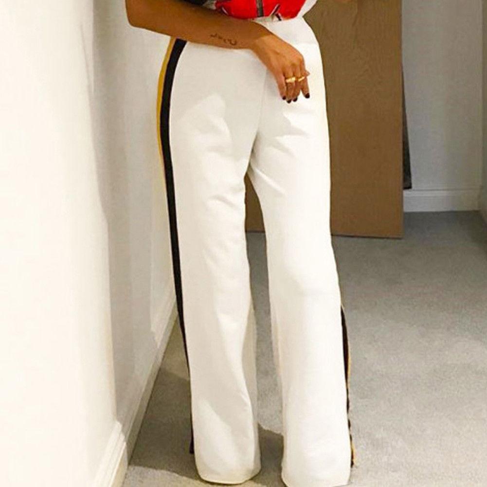 2019 Ladies Striped Trouser Black White Plus Size Women Autumn Loose High Waist Wide Leg Flared Pant