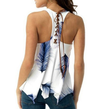Fashion Casual Lace-up Feather Print Vest T-Shirt Sleeveless Loose Sport  Plus Size недорого