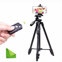Yunteng 5208 Cell Phone Tripod Holder Bluetooth Remote for iPhone Samsung iPad Tablet PC Mobile Smartphone Telephone Stand